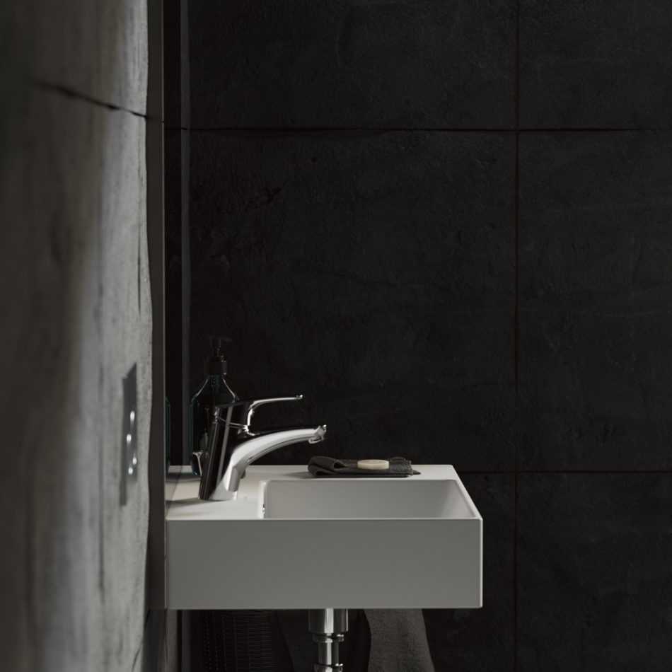 Black bathroom one of two versions for client.Project and rendering : Environment 3D